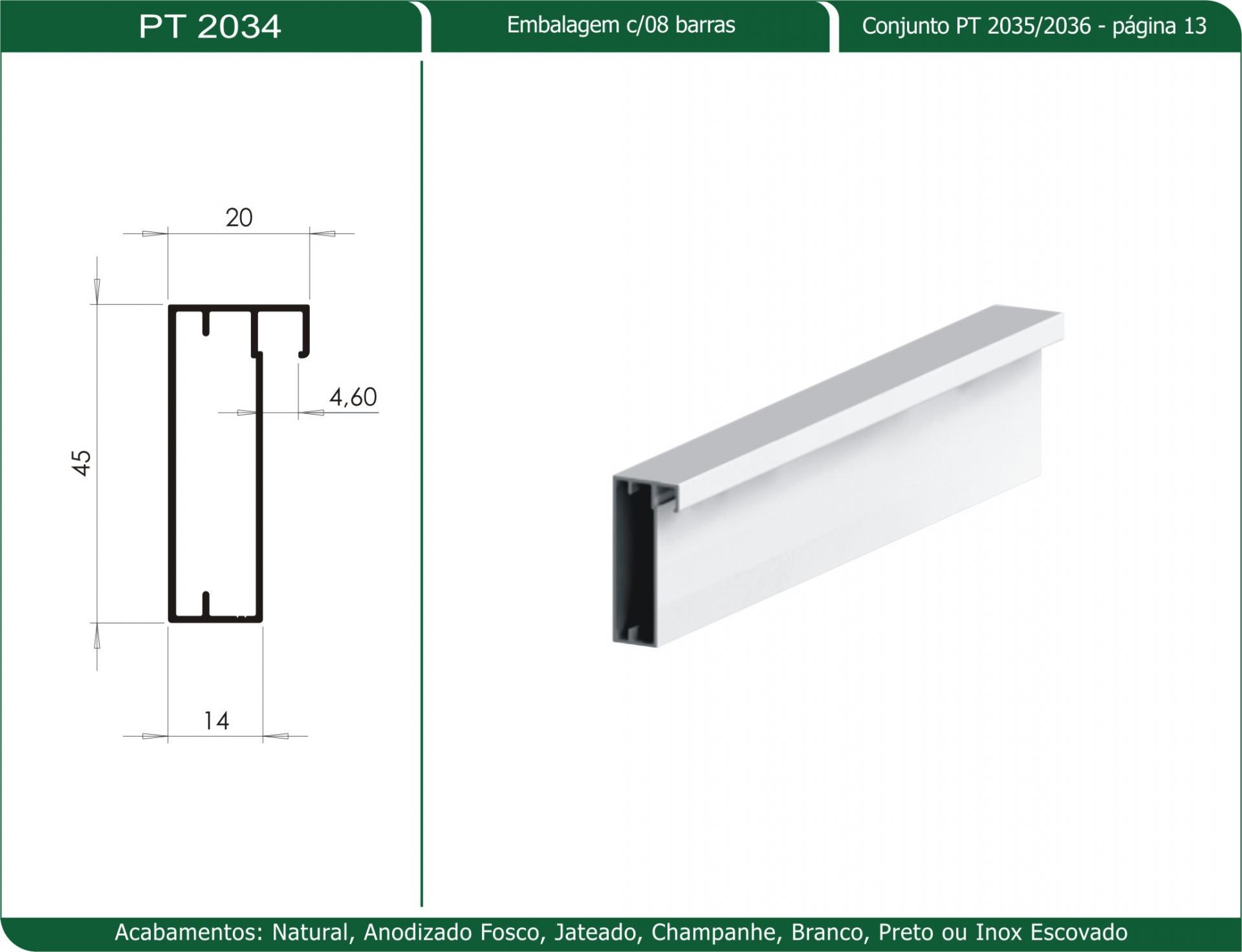 Perfil P Porta De Correr Pt 2034 Produtos 2m Componentes